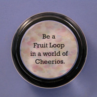 Fruit Loop Cheerios Quotation Pastel Speckled Round Glass Paperweight Home Decor