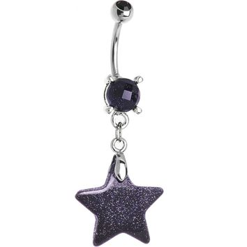 Natural Blue Goldstone Star Belly Ring