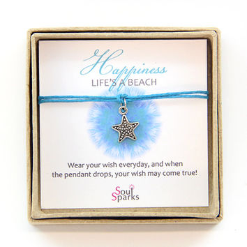 Happiness Life is a Beach Make a Wish on a Starfish Bracelet / Anklet