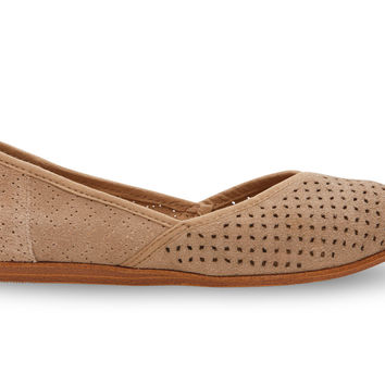 TOMS Jutti Flat Women Taupe Suede Perforated