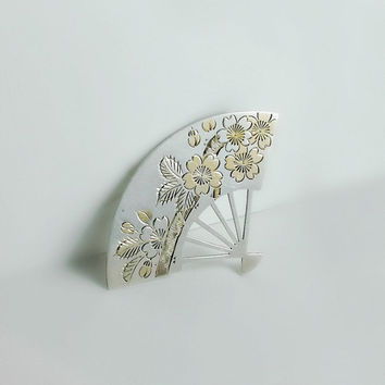 Asian Fan Brooch - Vintage Sterling Pin - Mid Century Fan Pin - Japanese Sterling Jewelry - K. Uyeda Signed Brooch - Fan Brooch