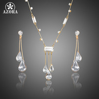 AZORA Elegant Gold Plated Stellux Austrian Crystal Water Drop Earrings and Pendant Necklace Jewelry Sets TG0192