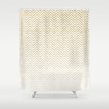 Gold Glitter Ombre Chevrons Shower Curtain by Doucette Designs
