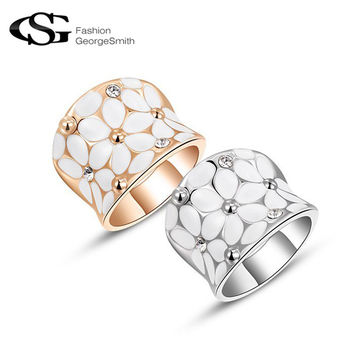 GS Classic Flower Women Rings AAA Zircon Crystals Gold Plated Rose Gold Plated Elegant Rings Fashion Jewelry anillos
