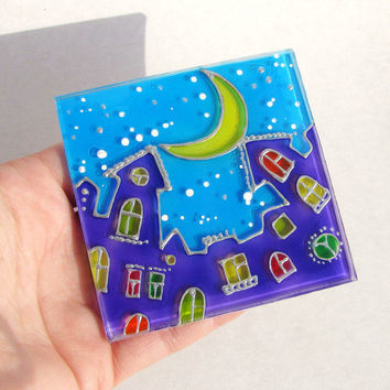 SALE Painted Magnet Night City Colored Windows Fancy Houses Fridge Magnets, Painted Glass Magnets