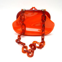 Vintage Orange Vinyl Bag, Faux Tortoiseshell Chain Link Strap, Shiny Patent Vinyl Handbag, Mod 1960s Purse