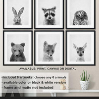 Woodland baby pictures, Forest animal nursery Monochrome, Woodland nursery prints, Forest friends decor, Woodland baby theme Print/Canvas/Di