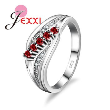 JEXXI Trendy Ring Silver Sterling 925 Fashion Cubic Zircon Crystal Wedding Engagement Rings For Women Valentine's Day Jewelry