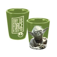 Vandor 99018 Star Wars Yoda Ceramic Shot Glass, Green ,