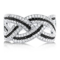 Black & White CZ 925 Sterling Silver Woven Fashion Ring 0.96 ctw #r594
