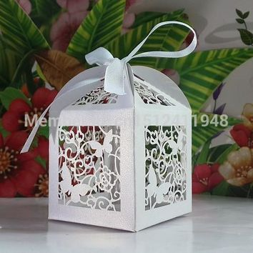 Butterfly  Shower  Candy  Wedding  Favors  Boxes  Ribbon