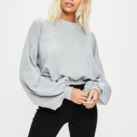 Missguided - Gray Ruched Sleeve Sweatshirt