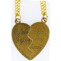 "Heart Pendant My Love to You, I Give My Heart, 2 18"" Necklaces 14k Old Gold Tone Plated: Jewelry: Amazon.com"