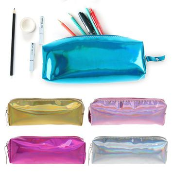 (1Pc/Sell)Magic dream Pencil Case Super Shiny PU Laser PencilsBags Kawaii Girl Durable Large Capacity School Supplies Stationery