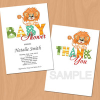 Lion Baby Shower Invitations Gender Neutral Baby Shower Invitation Printable  - FREE Thank You cards (V2)