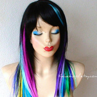 Rainbow wig. Rainbow hair Ombre Long straight black hair with rainbow color wig. One of kind Unique hairstyle wig.
