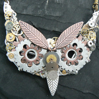 steampunk owl necklace ooak gears watch parts leaves mixed metal bars chain steampunk gothic fantasy gypsy boho style