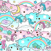 Pegasus winged unicorns pegacorns stars rainbows clouds trees ponds lakes teddy bears shooting cats fairy kei lolita sky skies pony ponies horses sanrio inspired little twin stars moon castles fabric - raveneve - Spoonflower