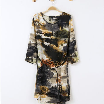 Chiffon Print Dress One Piece Dress [4917786564]