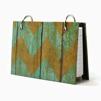 A 3 x 5 index card binder, chevron weathered barn wood, recipe holder, daily journal, index card holder with a set of index card dividers