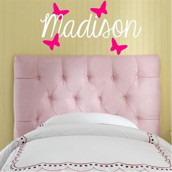 Monogram for Nursery-Name & 4 butterflies-Teen Girls room Vinyl Lettering- Custom wall decal, Vinyl Wall Decals graphic,large wall sticker