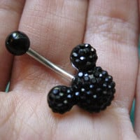 Disney Mickey Mouse Black Crystal Belly Button Ring Navel Jewelry Stud Bar Barbell