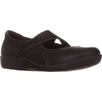 Clarks CloudSteppers Sillian Bella Mary Jane Flats, Black, 8.5 US / 39.5 EU
