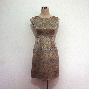 1960's Vintage brocade dress. 60's mini dress / sleeveless / Cocktail party dress. Gold brocade with teal floral pattern. Metal zipper dress
