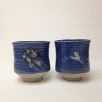 Set of two Blue Handmade Ceramic Cup, Teacup, Yunomi