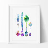 Kitchen Decor, Kitchen Wall Art, Fork Knife Spoon Wall Art, Kitchen Art, Watercolor Painting, Watercolor Art, Home Decor, Art Print(176)