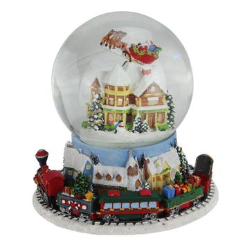 """7.25"""" Musical Revolving House with Santa and Train Christmas Glitterdome Decoration"""