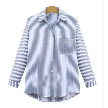 Blue Stripe With Pocket Blouse