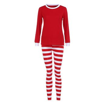 Women Family Matching Christmas  Pajamas Set  Blouse +Santa Striped Pants