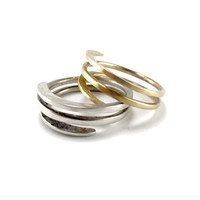"RING ""ARCHITECT2"" in 14K yellow gold and white gold. Modern, Minimalistic. Wedding Band. Promise ring.Hammered, Forged, Stackable."