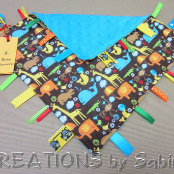 Baby Tag Blanket / Ribbon Sensory Toy / zoo animals / whale giraffe elephant crocodile birds hippo / blue brown yellow / READY TO SHIP (186)