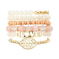 Beaded Leaf & ID Bracelets - 6 Pack by Charlotte Russe - Pale Peach