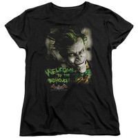BATMAN AA/WELCOME TO THE MADHOUSE - S/S WOMEN'S TEE - BLACK -