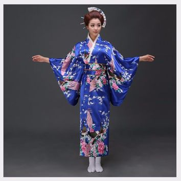 National Trends Women Sexy Silk Satin Kimono Yukata With Obi Novelty Evening Dress Japanese Cosplay Costume Flower One Size