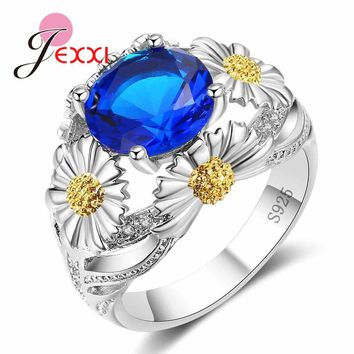 JEXXI 2018 New Stylish Chrysanthemum Jewelry for Women Best Gift Solid 925 Sterling Silver Ring Round Blue Green Red Crystal