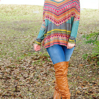 Tribal Print V-Neck Long Sleeved Shirt
