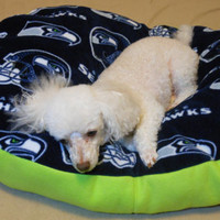 Seattle Seahawks Fleece Dog Bed, Oval pillow stuffed with fluff for your pets comfort