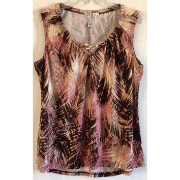 Emma & Olive Palm Leaf Print Blouse Chain Keyhole Pink Brown Gold Top Floral XL
