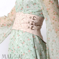 Wide floral belt, Pale pink belt, Vintage cotton, Light pink floral belt, Womens belt, Couture belt, Spring fashion, Waist cincher belt