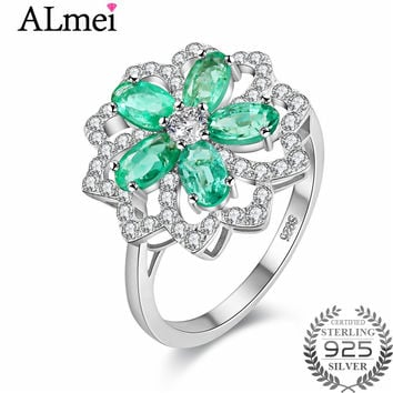 Almei 0.3ct Lotus Emerald Engagement Ring