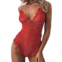 V-Neck Stretchy Lace Bodysuits