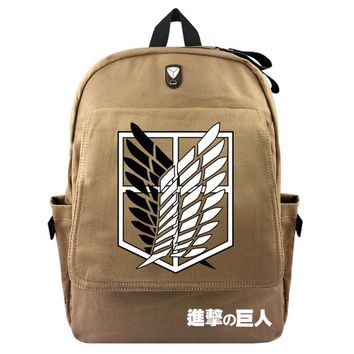 Cool Attack on Titan anime  Scouting Canvas Backpack Laptop Bag School Bag Shoulder Bag Travel Bag men women Rucksack Package AT_90_11