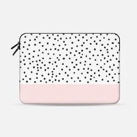 "Pastel pink black watercolor polka dots pattern Macbook 12"" sleeve by Pink Water 