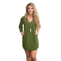 V-neck Chiffon Three Quarter Sleeve Casual Loose Dress