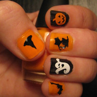 Cute Halloween decorative nail art decals for custom manicure ~ Pumpkins, Ghosts, Witch Hats, Cats, and Bats!