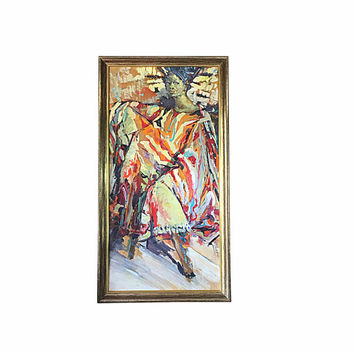 1960s Modernist Abstract African American Woman Painting, Signed, Large Vintage Art Display